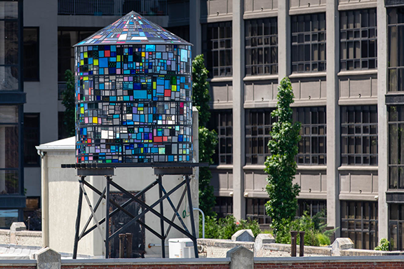 contemporary stained glass piece the kaleidoscopic watertowers