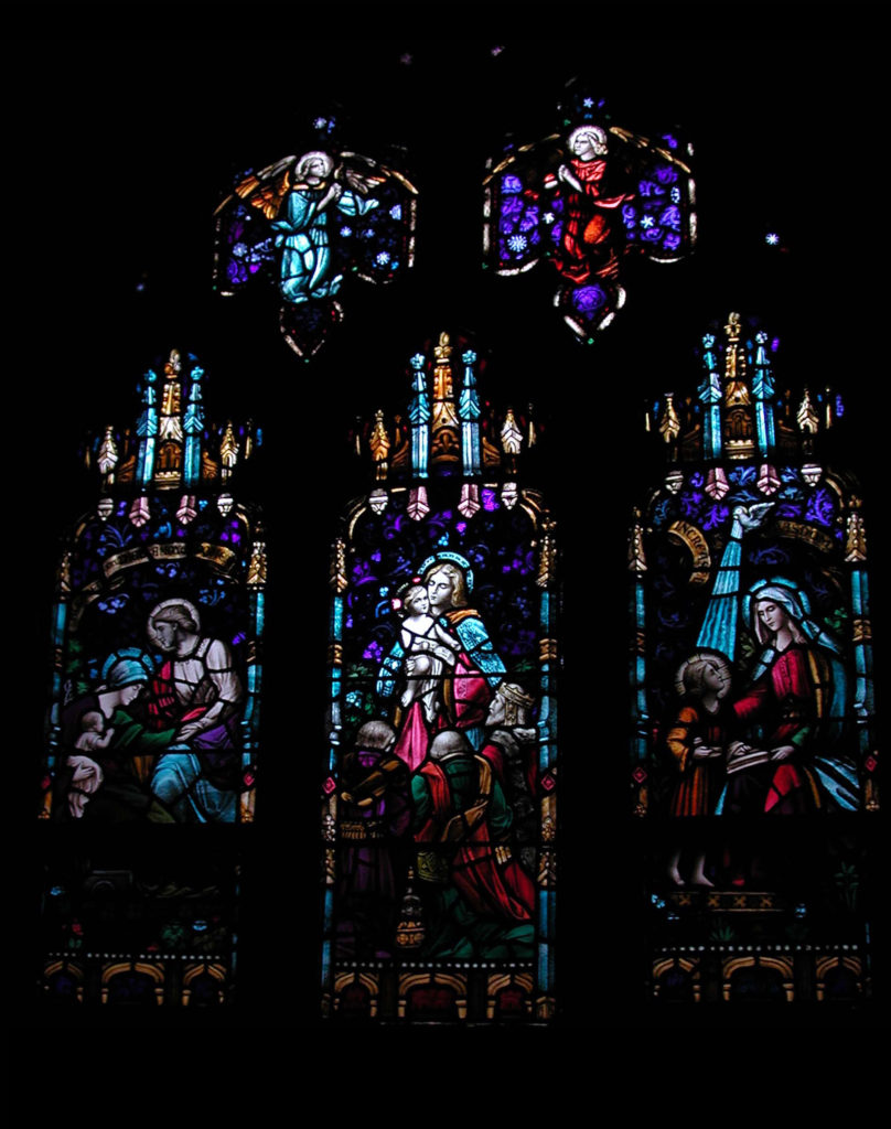 Stained glass Window depicting the Adoration of the Magi